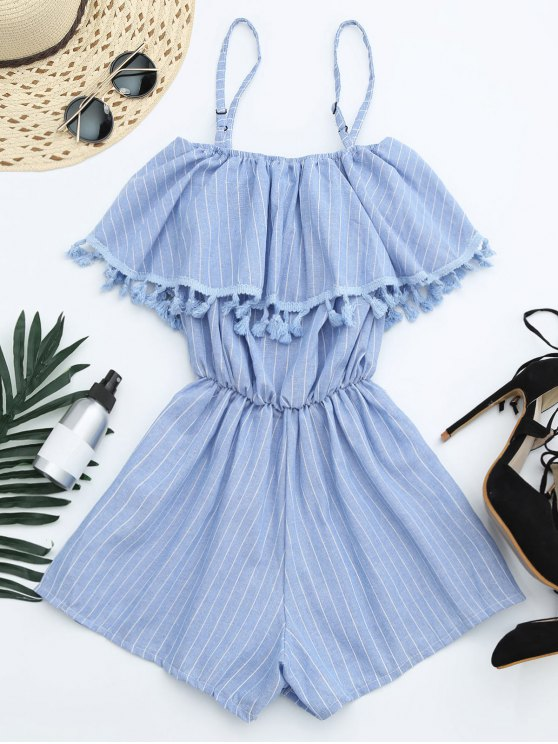 Overlay Cami Tassel Striped Romper - Bleu clair TAILLE MOYENNE