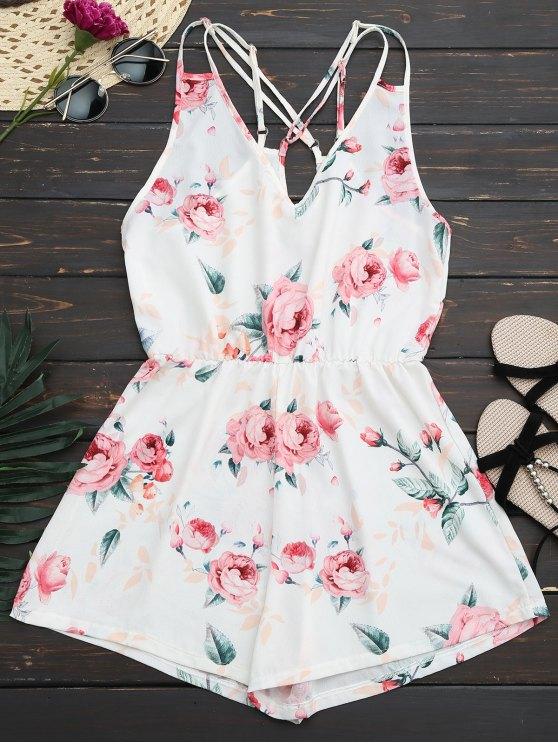 Criss Cross Cami Floral Romper - Blanco S