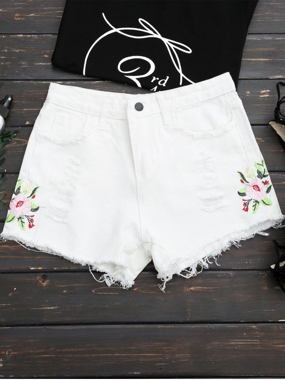 fashion Frayed Hem Floral Embroidered Ripped Shorts - WHITE M