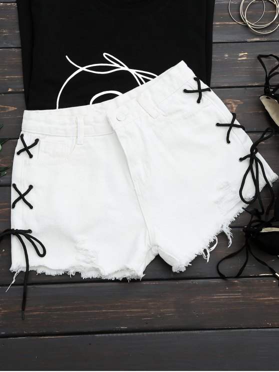unique Frayed Side Lace Up Ripped Denim Shorts - WHITE S