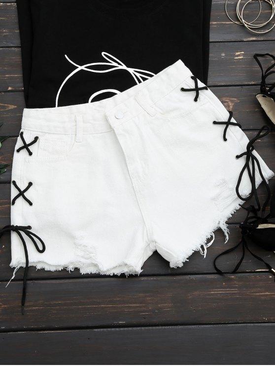Desgastado Side Lace Up Ripped Denim Shorts - Blanco XL