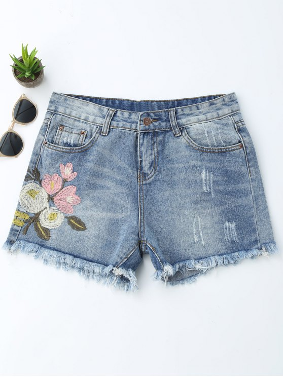 Bordados Ripped Cutoffs Denim Shorts - Denim Blue XL
