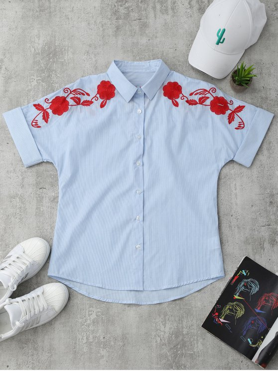 outfit Short Sleeve Floral Embroidered Stripes Shirt - STRIPE S