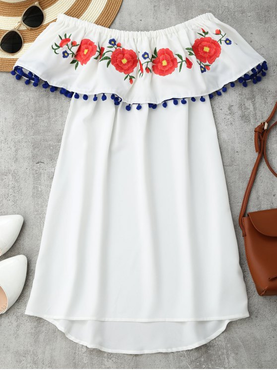 online Embroidered Ruffles Off Shoulder Mini Dress - WHITE M