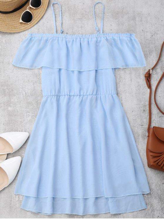 latest Ruffles Chiffon Cold Shoulder Mini Dress - LIGHT BLUE S