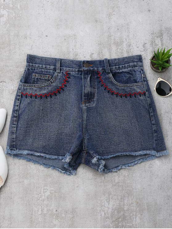 Pantalones cortos bordados Cutoffs Denim - Denim Blue L