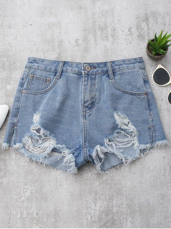 best Denim Distressed Cutoffs Shorts - DENIM BLUE L