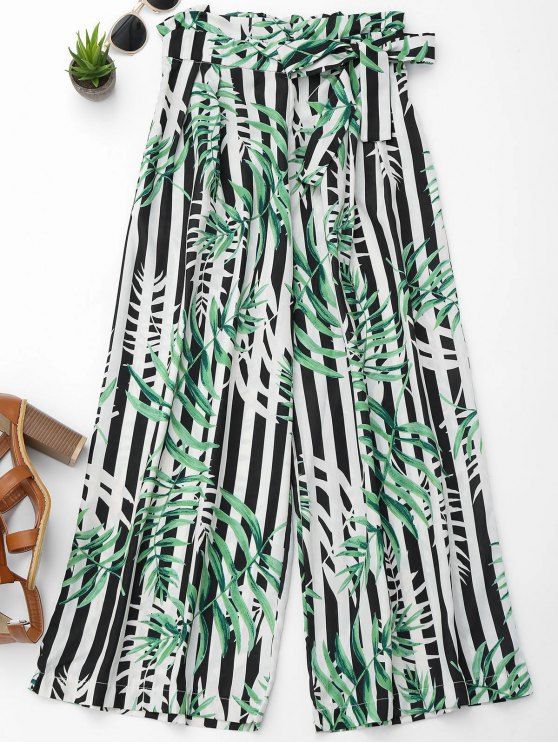 hot Stripes Leaves Print Wide Leg Pants - COLORMIX L