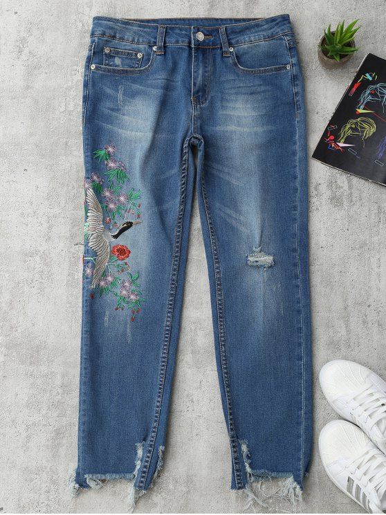latest Bird Floral Embroidered Ripped Jeans - DENIM BLUE S