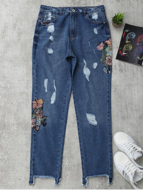 Jeans brodés floraux à boutons coupés - Denim Bleu L