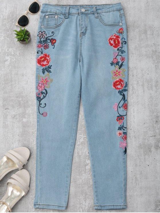 Jeans à crayons brodés floraux maigres - Denim Bleu M