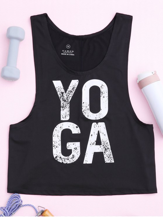 latest Yoga Dropped Armhole Sports Tank Top - BLACK M
