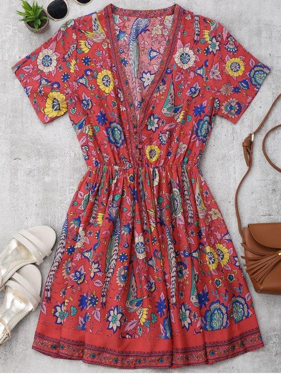 Floral Half Buttoned A-Line Dress - Floral S
