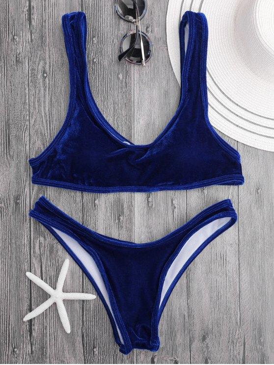 unique Velvet Bralette Scoop Bikini Set - ROYAL BLUE S