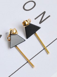 Triangle Bar Front Back Earrings - Golden