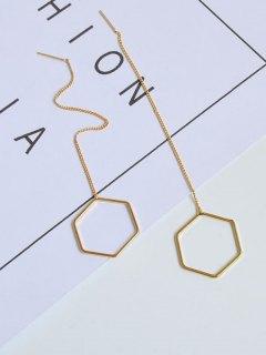 Metal Hexagon Chain Drop Earrings - Golden