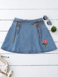 Floral Embroidered Lace Up Denim Skirt - Denim Blue M