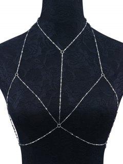 Geometric Circle Bra Body Chain - Silver