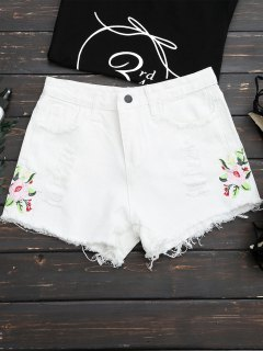 Frayed Hem Floral Embroidered Ripped Shorts - White Xl