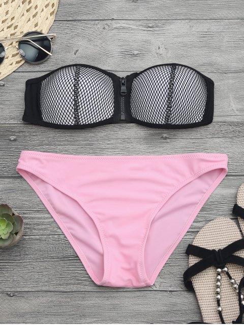 buy Zip Fishnet Cupped Bandeau Bikini Set - PINK L Mobile