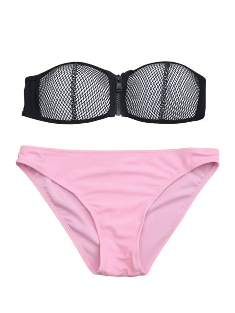 buy Zip Fishnet Cupped Bandeau Bikini Set - PINK L Mobile