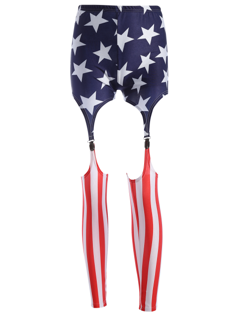 shop Cut Out American Flag Patriotic Leggings - COLORMIX XL Mobile