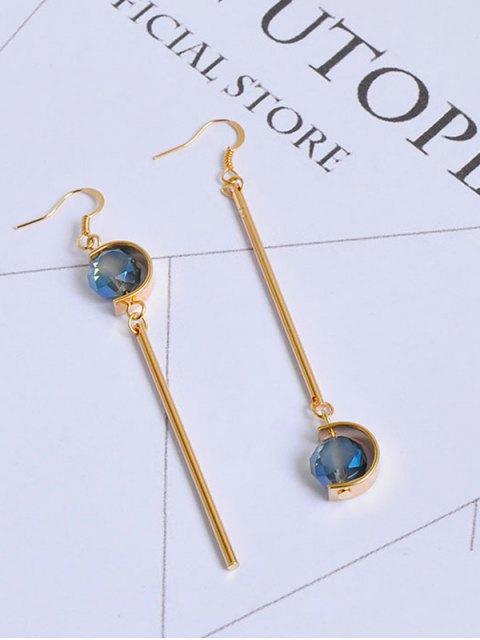 online Faux Sapphire Ball Bar Hook Earrings - GOLDEN  Mobile