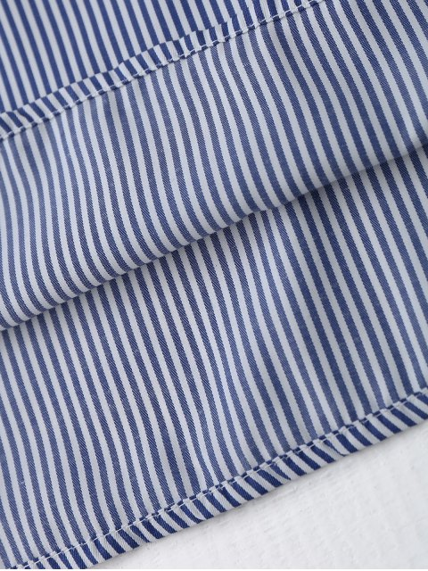 unique Flare Sleeve Embroidered Stripes Mini Dress - STRIPE M Mobile