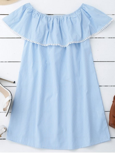 outfit Stripes Lace Trim Off Shoulder Mini Dress - STRIPE M Mobile