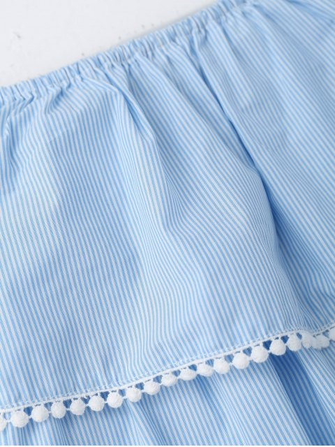outfits Stripes Lace Trim Off Shoulder Mini Dress - STRIPE S Mobile