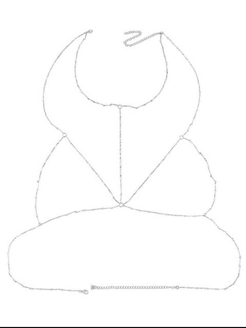 new Geometric Circle Bra Body Chain - SILVER  Mobile