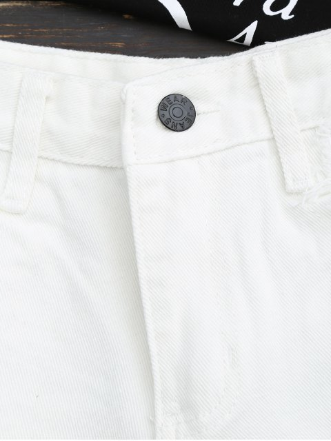 fashion Frayed Hem Floral Embroidered Ripped Shorts - WHITE M Mobile
