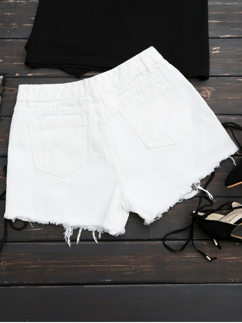 unique Frayed Side Lace Up Ripped Denim Shorts - WHITE S Mobile