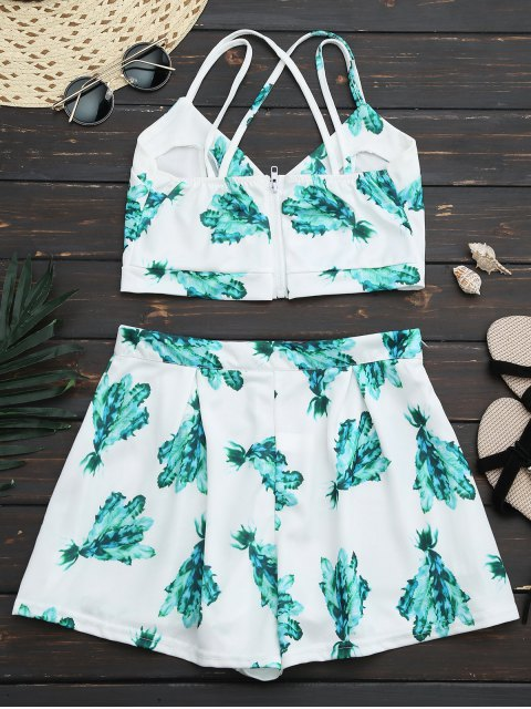 ladies Back Zipper Criss Cross Crop Top with Plant Short - WHITE XL Mobile