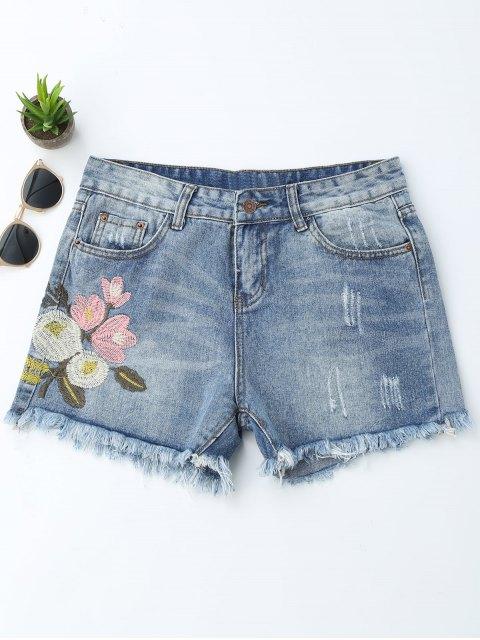 Shorts Denim côtelés brodés floral - Denim Bleu L Mobile