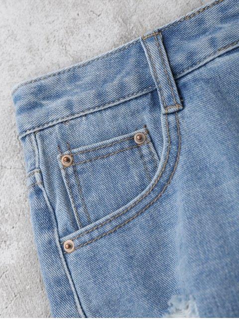online Denim Distressed Cutoffs Shorts - DENIM BLUE M Mobile
