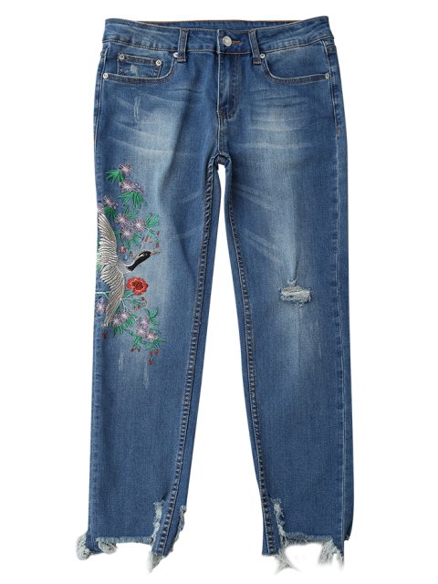 shops Bird Floral Embroidered Ripped Jeans - DENIM BLUE M Mobile