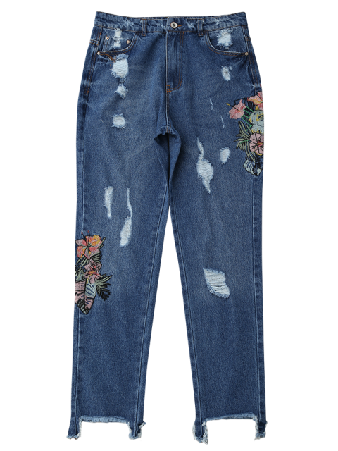 chic Ripped Cutoffs Floral Embroidered Jeans - DENIM BLUE S Mobile