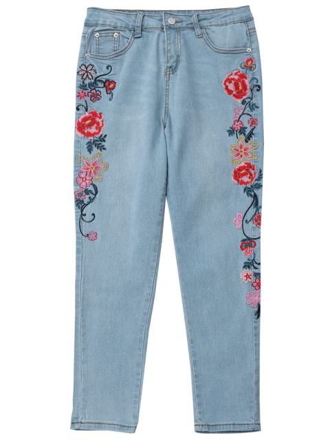 sale Skinny Floral Embroidered Pencil Jeans - DENIM BLUE M Mobile