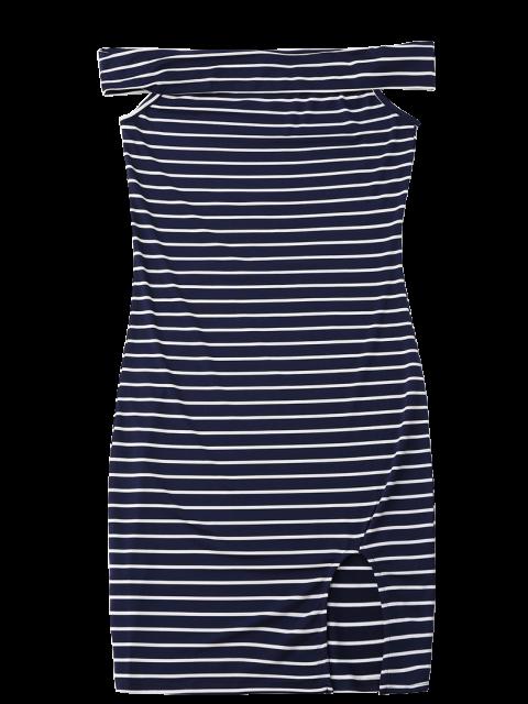 fashion Side Slit Off Shoulder Striped Bodycon Dress - STRIPE S Mobile