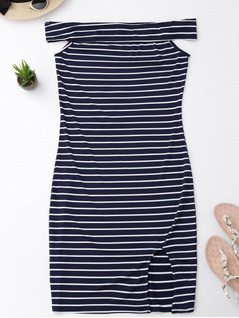 chic Side Slit Off Shoulder Striped Bodycon Dress - STRIPE M Mobile