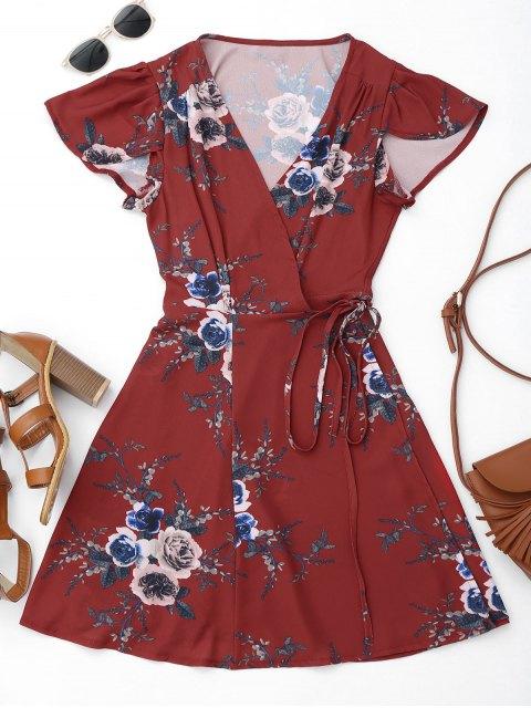 women Floral Beach Wrap Mini Dress - FLORAL M Mobile