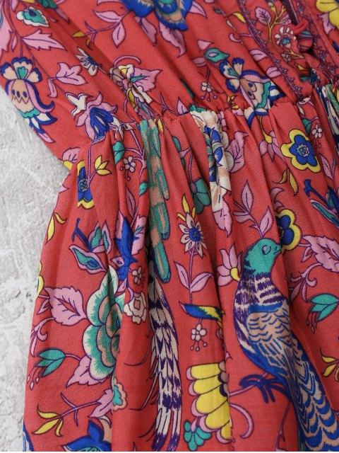 outfit Floral Half Buttoned A-Line Dress - FLORAL M Mobile