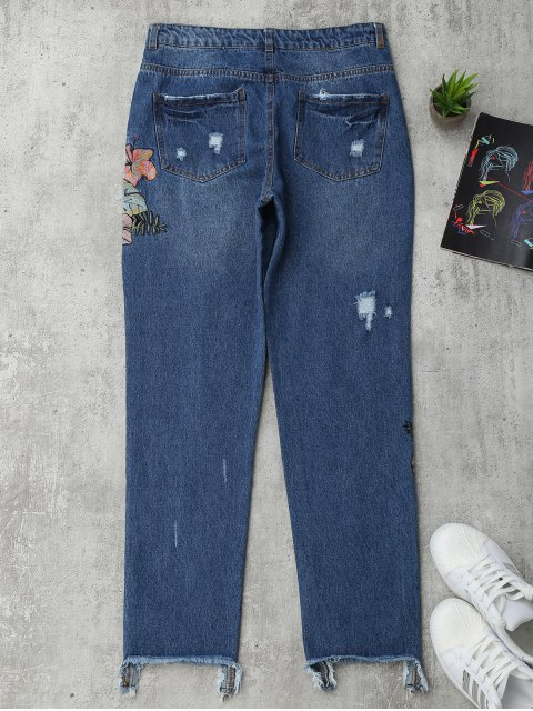 fashion Ripped Cutoffs Floral Embroidered Jeans - DENIM BLUE M Mobile