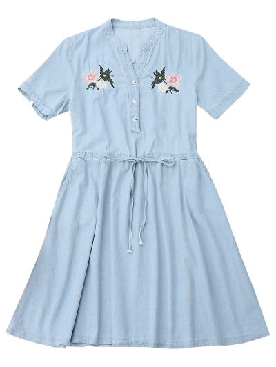 Belted Floral Embroidered Casual Dress от Zaful.com INT
