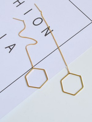 Metal Hexagon Chain Drop Earrings