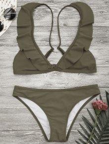 Traje De Bikini De Tirante Con Volante Con Relleno - Caqui S