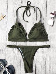 Rib Texture Frilled Thong Bikini Set