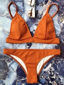 Cami Plunge Bralette Bikini Set - Brown S