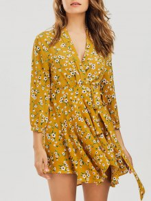 Floral Asymmetrical Wrap Mini Dress
